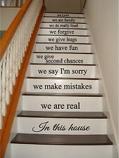 In This House Family Rules Large Stairs Vinyl Decal Stickers lettering