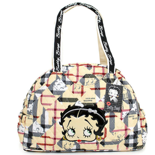 Betty Boop Quilted Diaper Bag Hand Bag  with Pad Brown Checkered Cotton