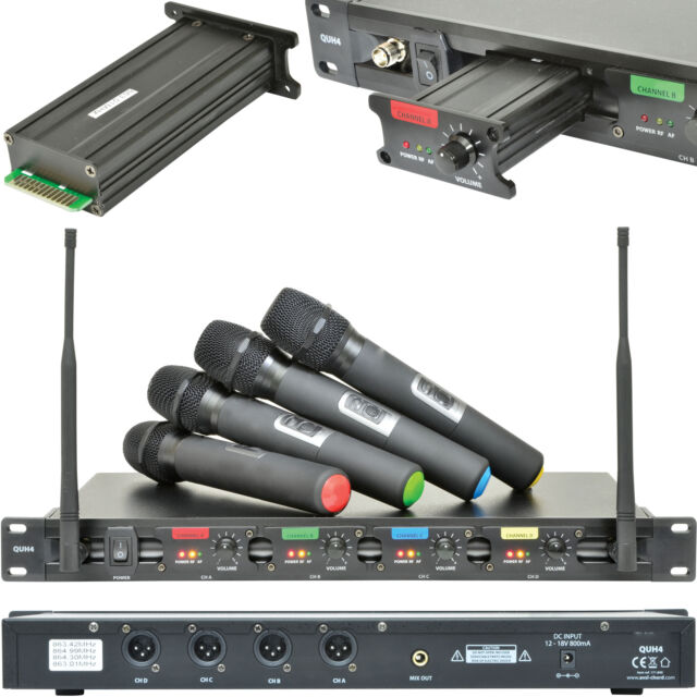 60m Quad Wireless Microphone Receiver System–4x Handheld Dynamic–UHF Karaoke Kit