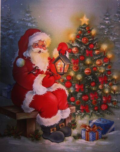 LED Light Santa with Christmas Tree  Framed Canvas