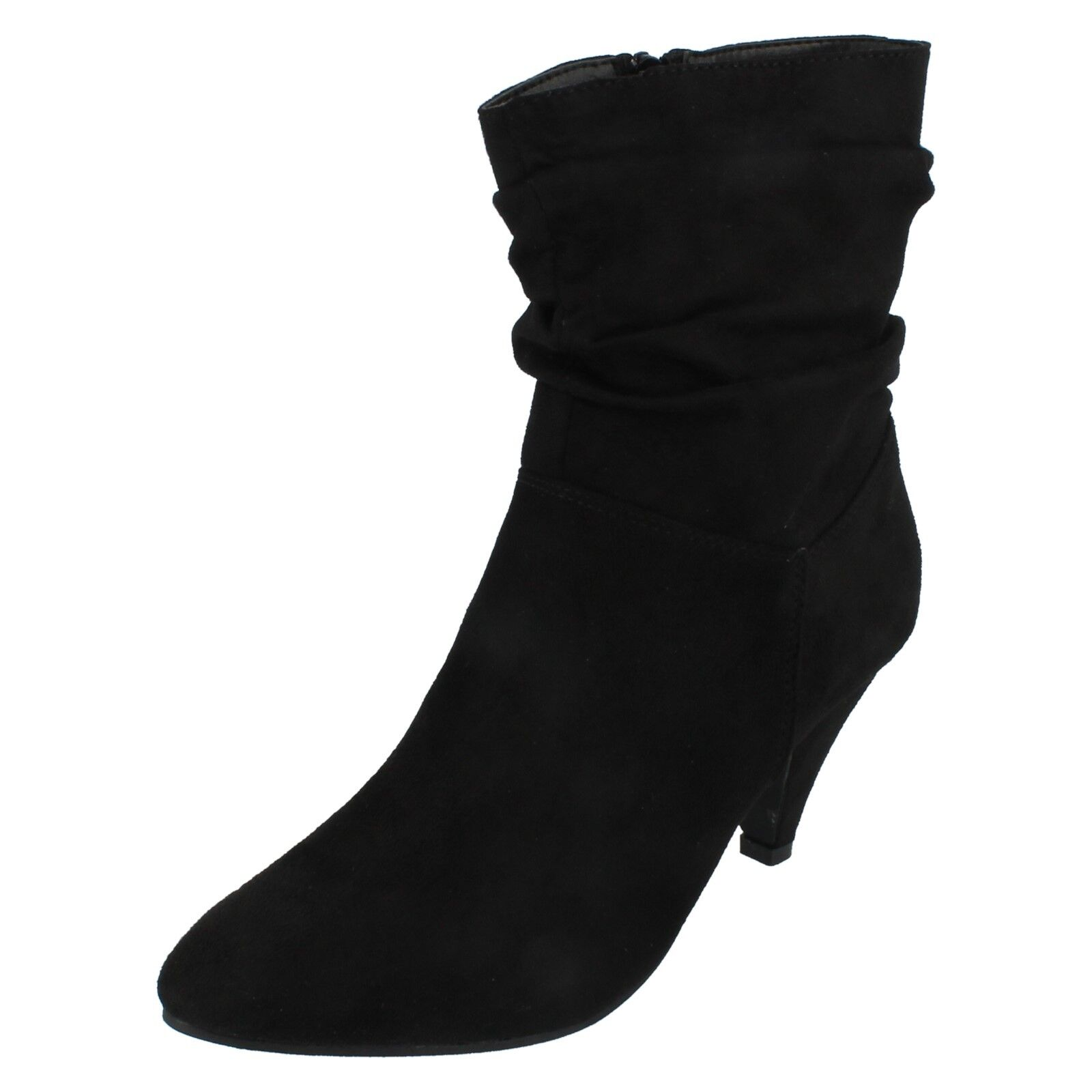 Ladies Spot On Black  heeled Zip Up Ruched Detail Ankle Boot F5R0897