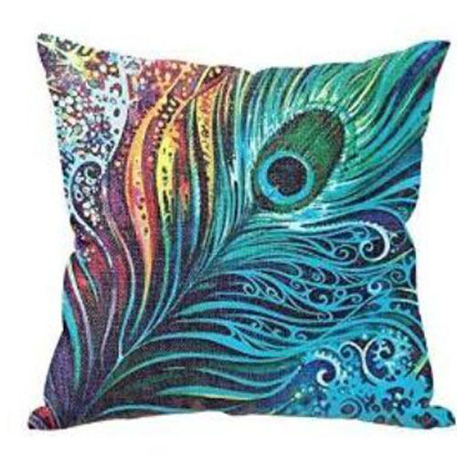 Vintage Cotton Linen Peacock Feather Cushion Cover Pillow Throw Case Sofa 45cm