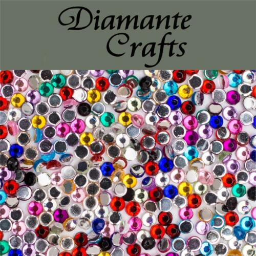 1000 x 2mm Mixed Colours Diamante Loose Flat Back Rhinestone Craft Embellishment