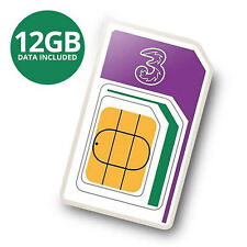New 3 PAYG 4G Trio Data SIM Pack Preloaded with 12GB of Data Three Sizes