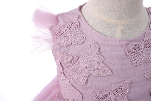 Christening Dress Butterfly Party Dress Headband Ivory Mauve 0-3 to 18-24 Months