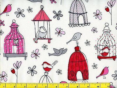 Birds Butterflies /& Bird Houses on Blue Quilting Fabric by Yard  #911
