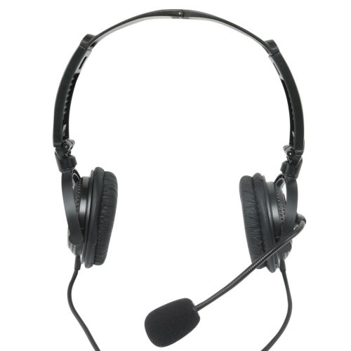 For Kenwood Baofeng Two-way Radio Foldable Double Headphones Mic PTT Interphone
