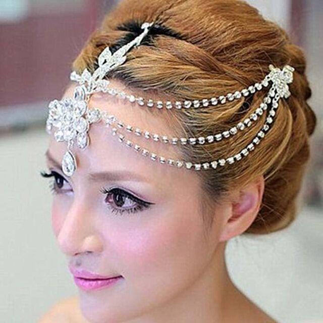 Bridal Rhinestone crystal dangle Topknot forehead Maang tikka Headpiece HR249