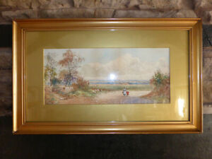 Original-Signed-WATERCOLOUR-PAINTING-Rural-Countryside-Track-Figures-Birds