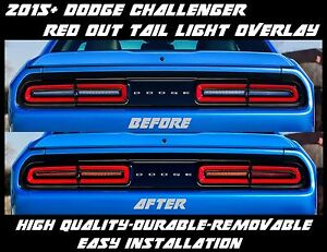 2015 2016 2017 Dodge Challenger Red Out Tail Light Overlay Tint