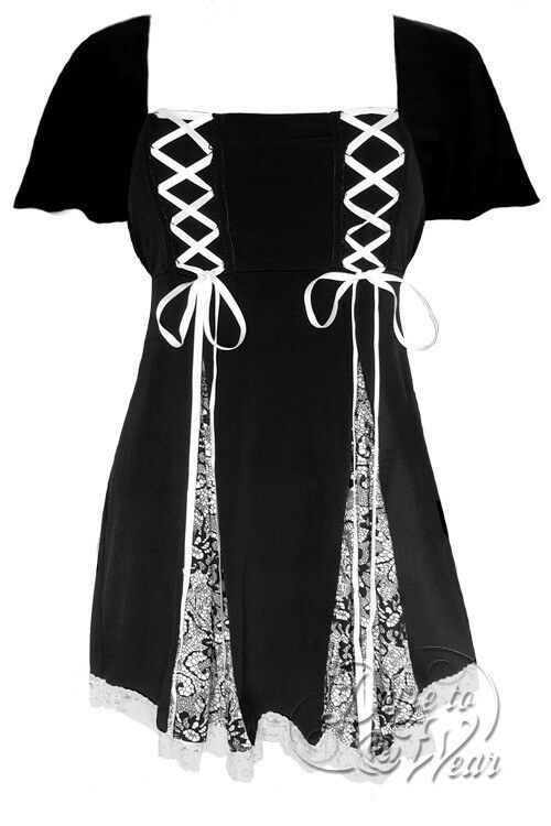 Dare to Wear Rockabilly Pin Up Goth Plus Größe Princess S S Top Chantilly Lace