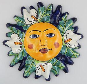 Talavera Wall Art mexican talavera ceramic sun face wall decor hanging pottery folk