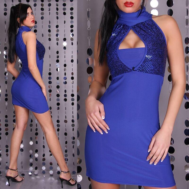 SEXY Abito Blau PAILLETTES taglia unica (38-40-42) elasticizzato Fashion GLAMOUR