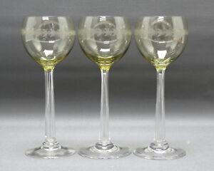 1-von-3-Jugendstil-Roemer-eingestochene-Luftblase-geaetzter-Blattschliff-19-7-cm