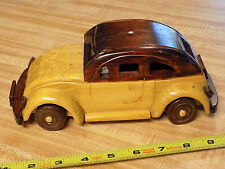 "Rare & Unique Wooden VW Bug style Car Model - Hand Carved - 9""  NoRsv LOOK!"