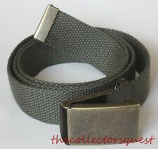"NEW BRASS FLIPTOP ADJUSTABLE 52"" INCH OLIVE CANVAS MILITARY GOLF WEB BELT BUCKLE"