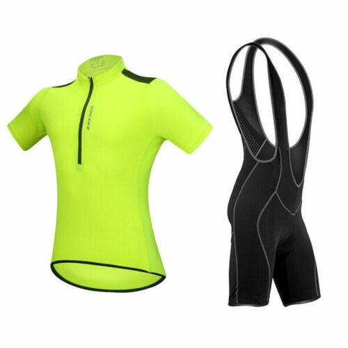 WOSAWE Herren Fahrradbekleidung Bike Wear Jersey Shirt gepolsterte Trägerhose