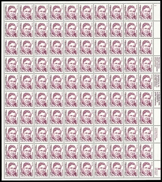 2192a, 75¢ Wendell Wilkie Shiny Gum Sheet of 100 Stamps CV $575.00 - Stuart Katz
