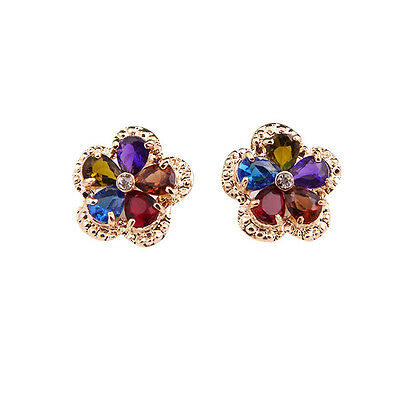 Fashion Women Crystal 18K Gold Plated Multicolor Zircon Earrings Jewelry