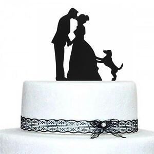 Black Dog Cake Decoration : Black Wedding Cake Topper Kissing Couple with Dog Cake ...