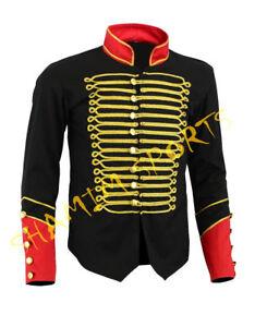 uomo d'oro mano Nero a militare da fatto cotone Napoleone 100 gancio Ricamo con Giacca qZxXwaX