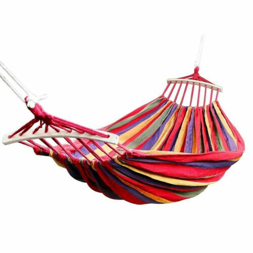 Portable Hanging Swing Travel /& Camping Double Hammock Made From Canvas Material