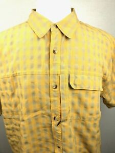 The-North-Face-Mens-Short-Sleeve-Button-Front-Shirt-XL-Yellow-Plaid-Modal-Blend
