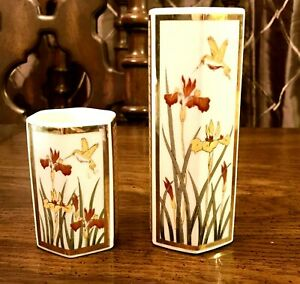 Vintage-Porcelain-Vases-set-of-2-Hand-Painted-Orchid-Floral-Japan-CIRCA-1970