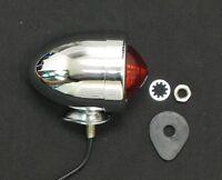 Brake Light Bullet Chrome Metal Bobber Motorcycle Taillight Running Tail Light