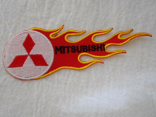 MITSUBISHI FLAMES   NEW EMBROIDERED IRON ON//SEW ON NAME PATCH  TAG