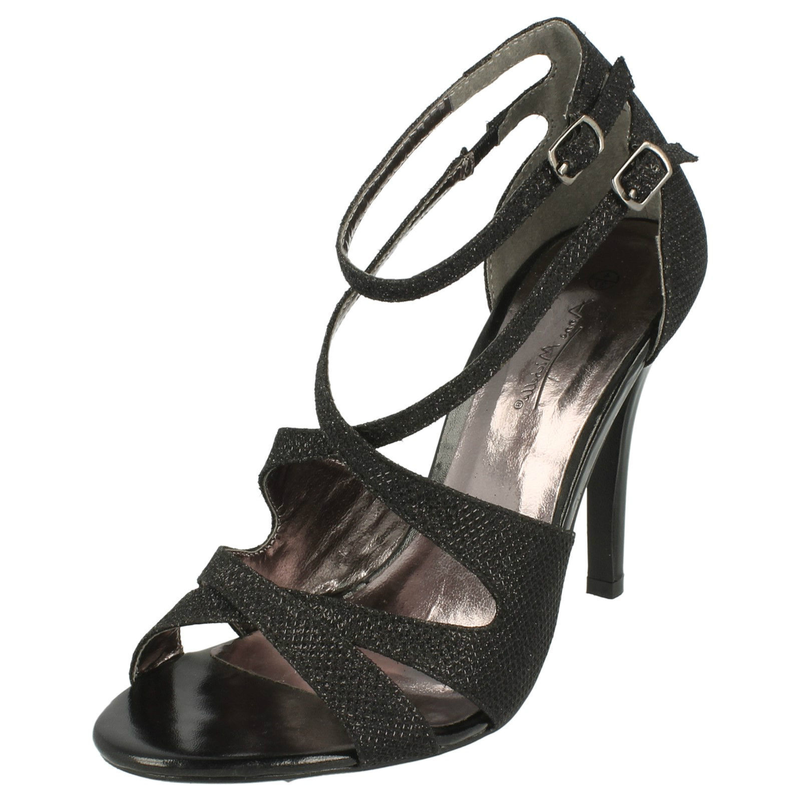 Anne Michelle Mujer Purpurina Zapatos negros L3412 Uk3 - 8 (25b)