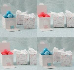 Gender Reveal Baby Shower Favour Boxes Box Boy Girl Pink Blue Surprise