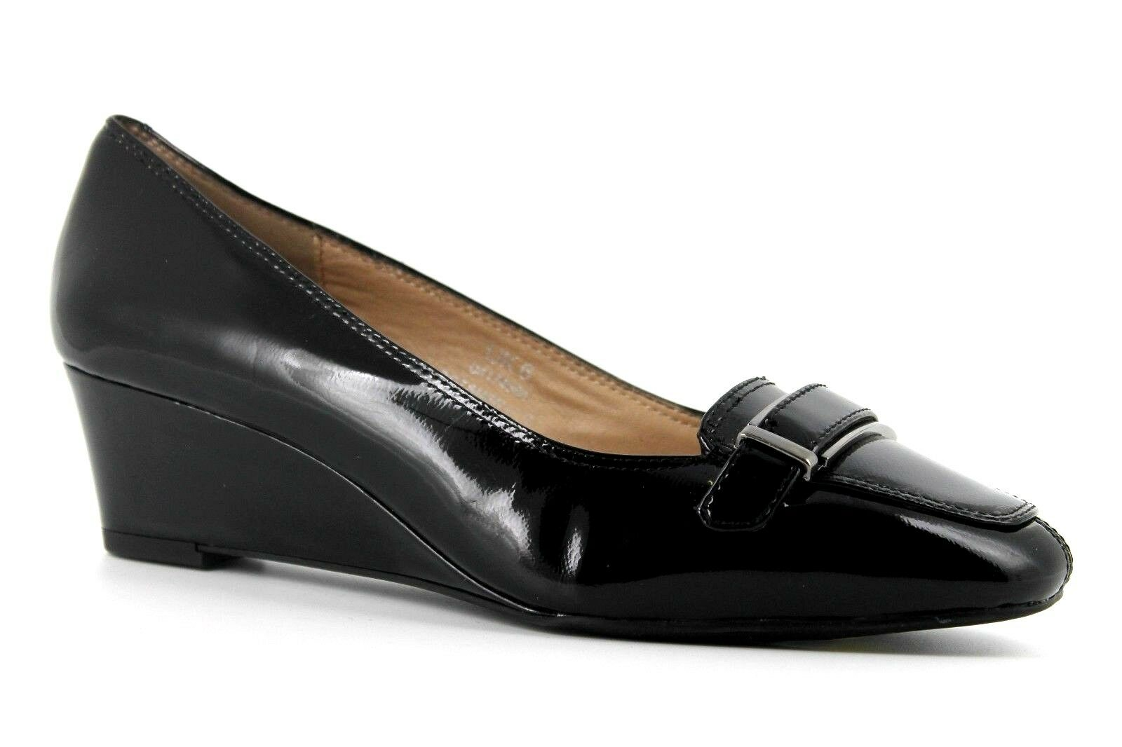 Marks & Spencer Footglove Womens UK 6 Wider Fit Black Patent Leather Wedge Shoes