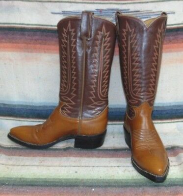 Mens 10 B Tony Lama Cowboy Boots Narrow Width Brown Ropers Country Western Shoes