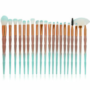 Diamond Unicorn 20PCS Eyeshadow Eyebrow Blending Brush Set Eye Make-up Brushes