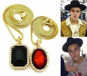 Mens iced out hip hop gold red ruby black onyx pendant box chain image is loading mens iced out hip hop gold red ruby mozeypictures Gallery