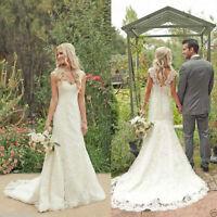 2017 New White/Ivory Wedding Dress Mermaid Bridal Gown Size:6 8 10 12 14 16