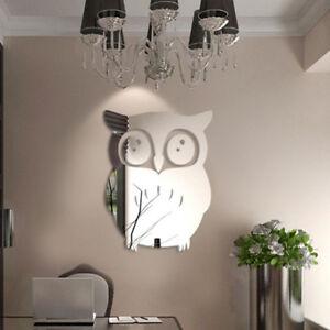 3D-Hibou-Art-Miroir-Decal-Vinyle-Mural-Autocollant-Mur-Decor-A-La-Maison