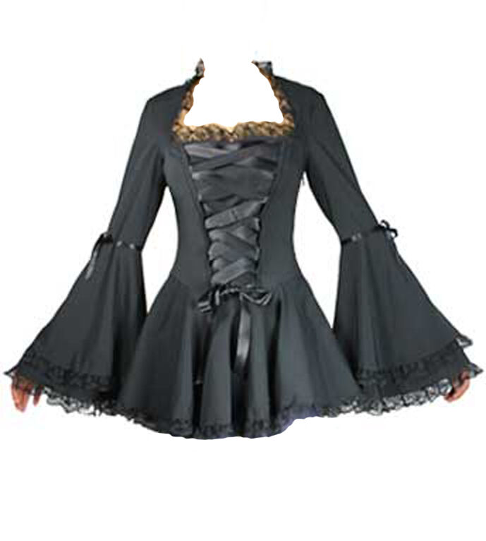 schwarz Gothic Victorian twilight vampire bell sleeved corset style Blouse 6 to 28