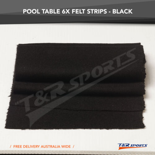 6x Black Double-Sided Wool Strip Felt for Pool Table Cushions Free Delivery