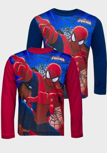 Boys Spiderman Long Sleeve T-Shirt Size Age 3,4,5,6,7 /& 8 Years Navy Red