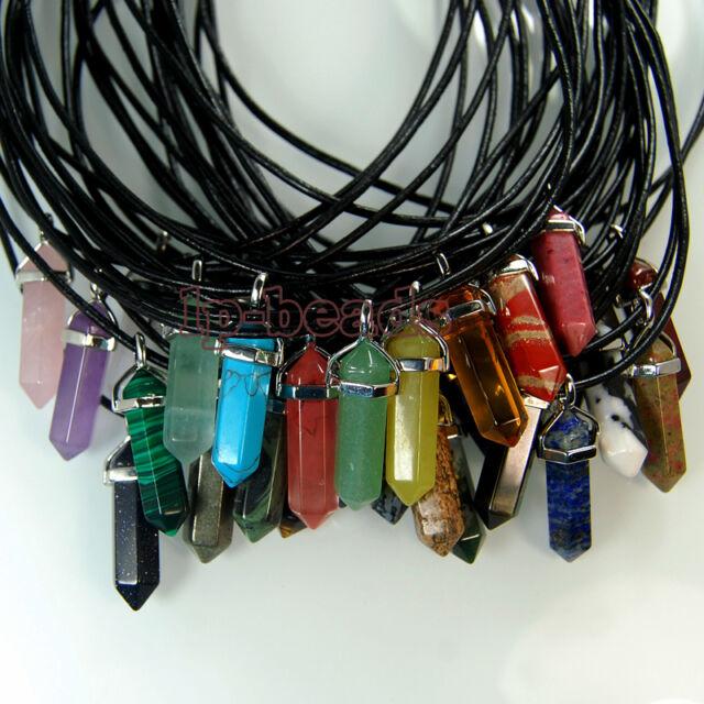 45 choices Gemstone Rock Crystal healing point chakra Reiki pendant bead 40mm