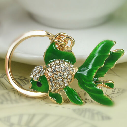 Tail Fish Keyring Rhinestone Crystal Pendant Key Bag Chain Christmas Lover Gift