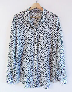 Sussan-Size-16-White-Olive-Black-Leopard-Cotton-Voille-Split-Back-Collared-Shirt