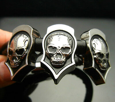 TF563 Skull Shield Pendants Black PU Leather Bracelet Wristband Punk Biker Rock