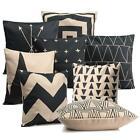 Vintage Black & White Cotton Linen Throw Cushion Cover Pillow Case Home Decor