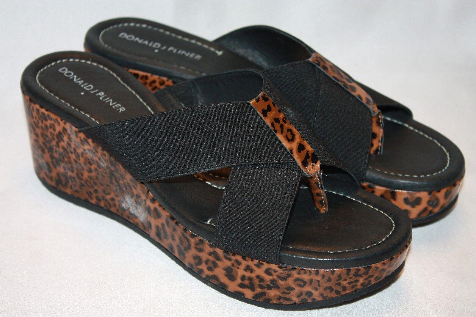 nuevo  Donald J Pliner Leopardo Patente Negro Shina cuña de plataforma Sandalias 8 M