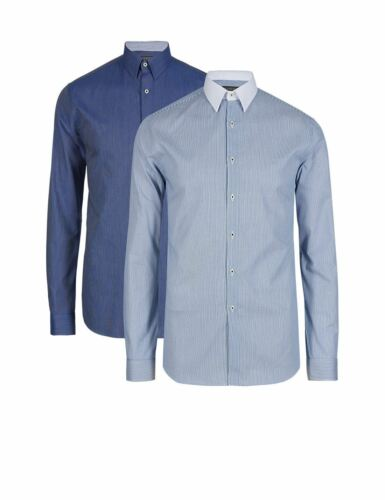 Fa M Ou S Store Cotton Rich Slim Fit Long Sleeve Winchester Shirt