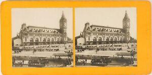 FRANCE Paris La Gare de Lyon, Photo Stereo Vintage Argentique ca 1900