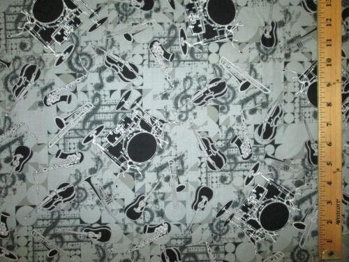 DRUM SET MUSIC INSTRUMENTS VIOLIN MUSIC NOTES COTTON FABRIC FQ